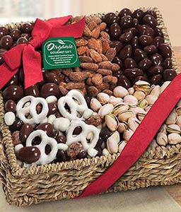Organic Chocolate & Nuts Gift Basket