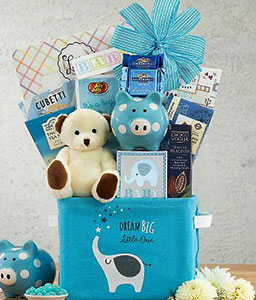 Pampered Boy Blue Gift Basket
