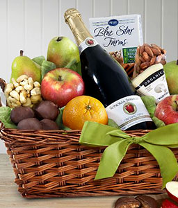 Organic Mixed Fruits, Chocolate & Cheese Basket