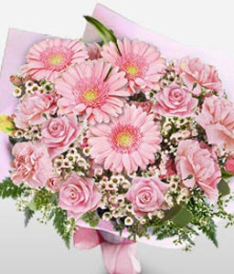 P�che Bliss Mixed Flowers in Pink - Sale $5 Off-Pink,Carnation,Daisy,Gerbera,Mixed Flower,Rose,Bouquet
