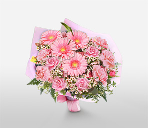 In The Pink Bouquet-Pink,Carnation,Gerbera,Mixed Flower,Rose,Bouquet