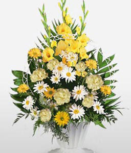 Sympathy Arrangement-White,Yellow,Carnation,Chrysanthemum,Mixed Flower,Arrangement