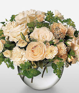 White Hand Tied-White,Carnation,Mixed Flower,Rose,Arrangement