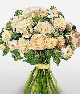 Vintage White-White,Mixed Flower,Bouquet