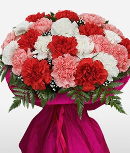 Delightful Carnations-Mixed,Pink,Red,Yellow,Carnation,Bouquet