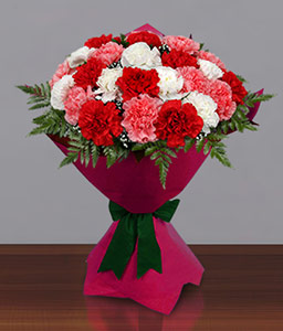 Mixed Carnations Bouquet-Mixed,Pink,Red,Yellow,Carnation,Bouquet