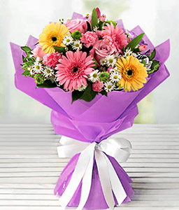 Pretty In Pink-Mixed,Pink,White,Yellow,Rose,Mixed Flower,Gerbera,Daisy,Carnation,Bouquet
