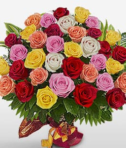 Triple Flame-Mixed,Orange,Pink,Red,White,Yellow,Rose,Bouquet