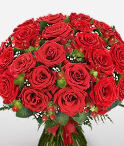 Amourous Azure - 2 Dozen Red Roses-Red,Rose,Bouquet