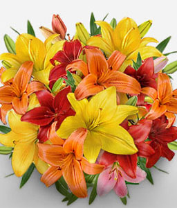 Moscow Muse - Mixed Asiatic Lilies-Mixed,Orange,Red,Yellow,Lily,Bouquet