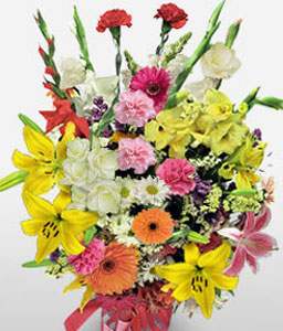 Mixed Colour Blooms-Mixed,Orange,Pink,Red,White,Yellow,Carnation,Gerbera,Lily,Mixed Flower,Bouquet
