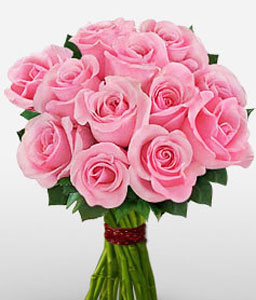 Dozen Pink Roses For Her-Pink,Rose,Bouquet
