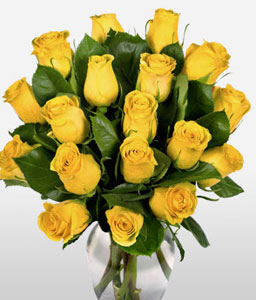 Yellow Blooms <Br><Font Color=Red>One Dozen Roses</Font>