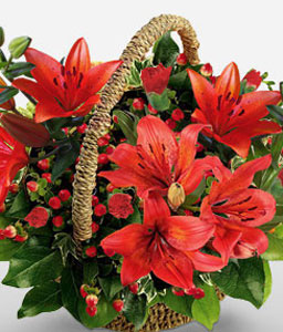 Valentines Flowers-Red,Lily,Carnation,Arrangement,Basket