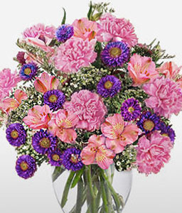 Pourpre Passion Free Vase-Pink,Purple,Carnation,Alstroemeria,Arrangement