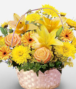 Las Cuevas Blooms-Yellow,Carnation,Chrysanthemum,Gerbera,Lily,Mixed Flower,Rose,Arrangement,Basket
