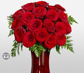 18 Long Stem Red Roses-Red,Rose,Arrangement