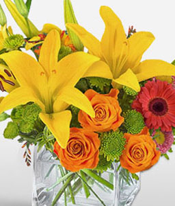 Pop Art-Mixed,Orange,Pink,Red,White,Alstroemeria,Chrysanthemum,Gerbera,Lily,Mixed Flower,Rose,Arrangement