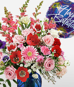 Birthday Fireworks-Mixed,Pink,Red,White,Balloons,Carnation,Chrysanthemum,Gerbera,Mixed Flower,Arrangement