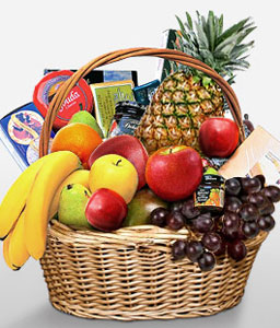 Seasons Acknowledgement - Fruit Basket-Chocolate,Fruit,Gourmet,Basket,Hamper