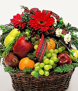 Fresh Fruits & Flowers Basket-Red,Fruit,Gerbera,Gourmet,Basket
