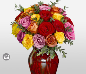 Marvel 18 Assorted Roses-Mixed,Orange,Pink,Red,Yellow,Rose,Arrangement