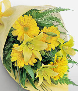 Silent Morning-Yellow,Gerbera,Lily,Bouquet