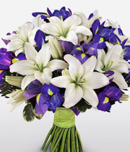 Wild Heart - Blue Irises & White Lilies Bouquet-Blue,White,Lily,Bouquet