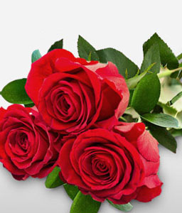 Troika Of Romance - <Br><Font Color=Red>3 Red Roses Bouquet</Font>