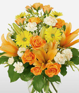 Florida Keys - Mixed Flowers Arrangement-Mixed,Orange,White,Yellow,Carnation,Lily,Mixed Flower,Rose,Arrangement