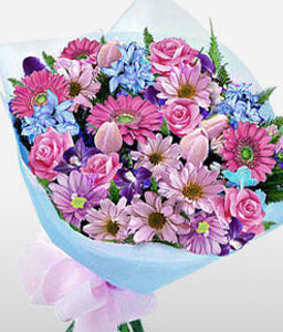 Bright Blooms-Mixed,Peach,Purple,Lily,Iris,Gerbera,Freesia,Daisy,Mixed Flower,Bouquet