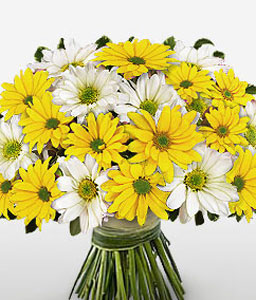 Cheery Chrysanthemums-White,Yellow,Daisy,Gerbera,Bouquet