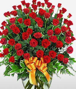 5 Dozen Roses in a Vase-Red,Rose,Arrangement