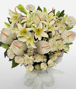 Pure Elegance-White,Mixed Flower,Lily,Chrysanthemum,Carnation,Anthuriums,Bouquet,Sympathy