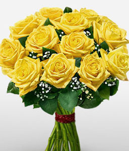 Yellow Beam - 12 Yellow Roses-Yellow,Rose,Bouquet
