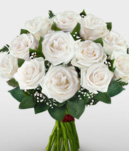 One Dozen White Roses-White,Rose,Bouquet