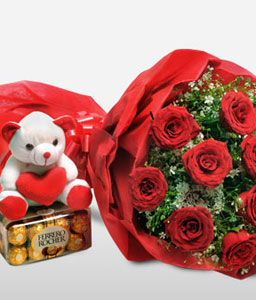 Red Rose Combo   <font color=red>Flowers + Chocolates + Teddy</font>