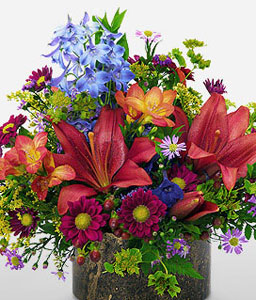 Central Park-Blue,Green,Orange,Daisy,Freesia,Lily,Arrangement