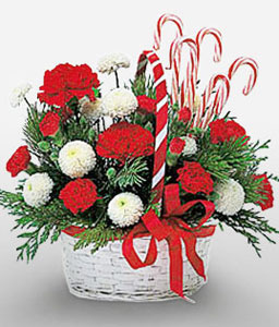 Christmas Candy Basket-Green,Mixed,Red,White,Carnation,Mixed Flower,Arrangement,Basket