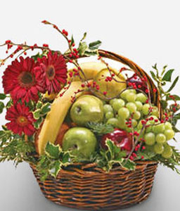 Merrymaker's Basket-Red,Fruit,Gerbera,Basket,Hamper