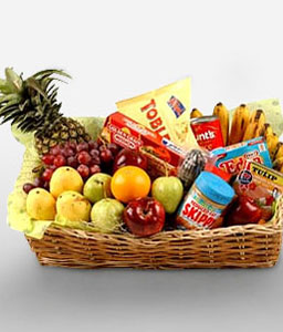 Gourmet Hamper With Fruits-Chocolate,Fruit,Gourmet,Basket,Hamper