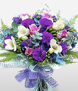 Rainbow Blooms-Blue,Mixed,Pink,Purple,White,Freesia,Mixed Flower,Rose,Bouquet