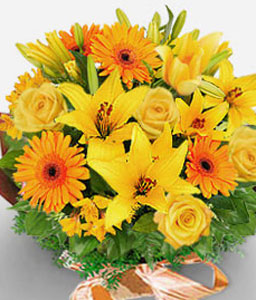 Seasonal Delights-Orange,Yellow,Daisy,Gerbera,Lily,Mixed Flower,Rose,Bouquet