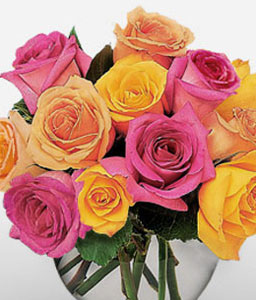 12 Pink And Yellow Roses <Font Color=Red> 12 Mixed Roses & Complimentary Vase</Font>
