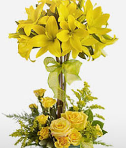 Glowing Harmony-Yellow,Lily,Rose,Arrangement