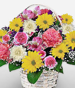 Simple Satisfaction-Mixed,Pink,Yellow,Alstroemeria,Carnation,Chrysanthemum,Mixed Flower,Basket