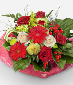Idyllic-Green,Mixed,Red,White,Carnation,Gerbera,Mixed Flower,Rose,Arrangement