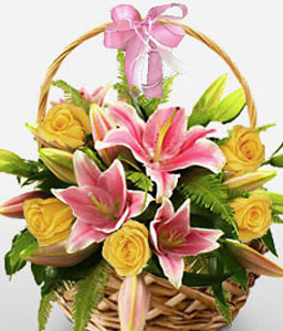 Roses And Lilies Arrangement In A Basket-Mixed,Pink,Yellow,Lily,Mixed Flower,Rose,Arrangement,Basket