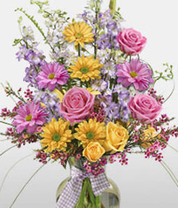 Panoramic View-Mixed,Pink,Yellow,Daisy,Mixed Flower,Rose,Arrangement