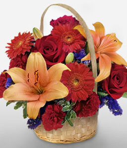 Mixed Flowers In Basket-Mixed,Orange,Red,Carnation,Daisy,Gerbera,Lily,Mixed Flower,Rose,Arrangement,Basket